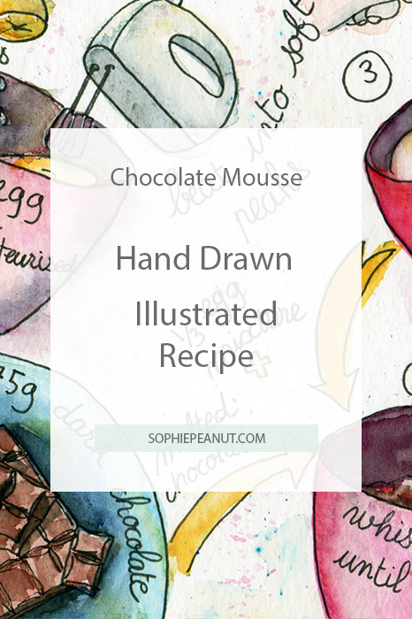 Hand Drawn Illustrated Recipe - Chocolate Mousse by Sophie Peanut