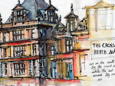 Sketching Crossley Heath School Halifax in Pen and Watercolour By Sophie Peanut
