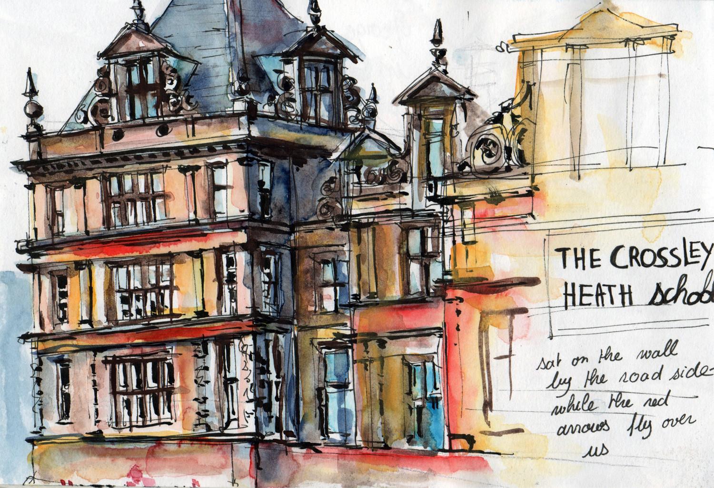 Sketching Crossley Heath School Halifax in Pen and Watercolour