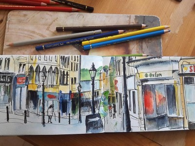 Halifax Street Scene in pen and Watercolour By Sophie Peanut