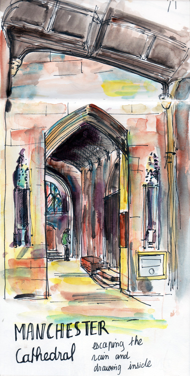 Inside Manchester Cathedral -Pen and Watercolour painting by Sophie Peanut
