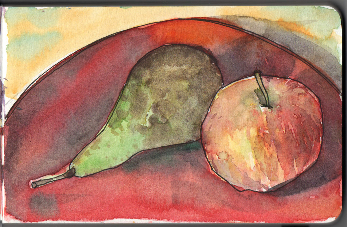 Pear and apple in watercolour and pen in small moleskine sketchbook