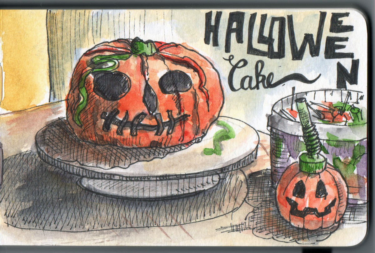 Halloween cake in pen and watercolour