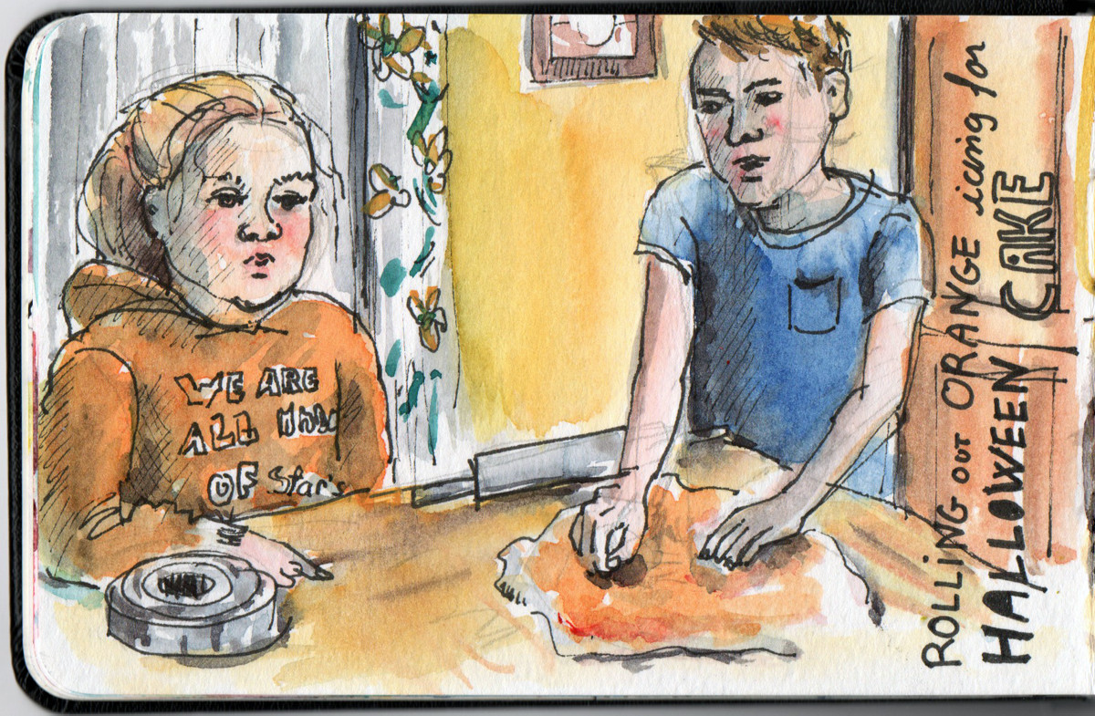 Cake icing in pen and watercolour
