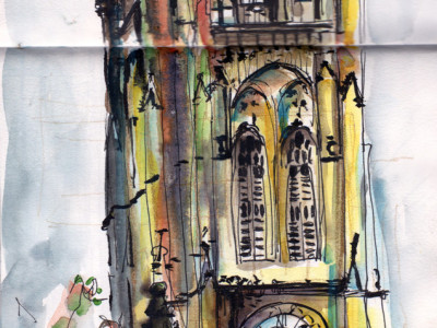 Manchester Cathedral in pen and watercolour by Sophie Peanut