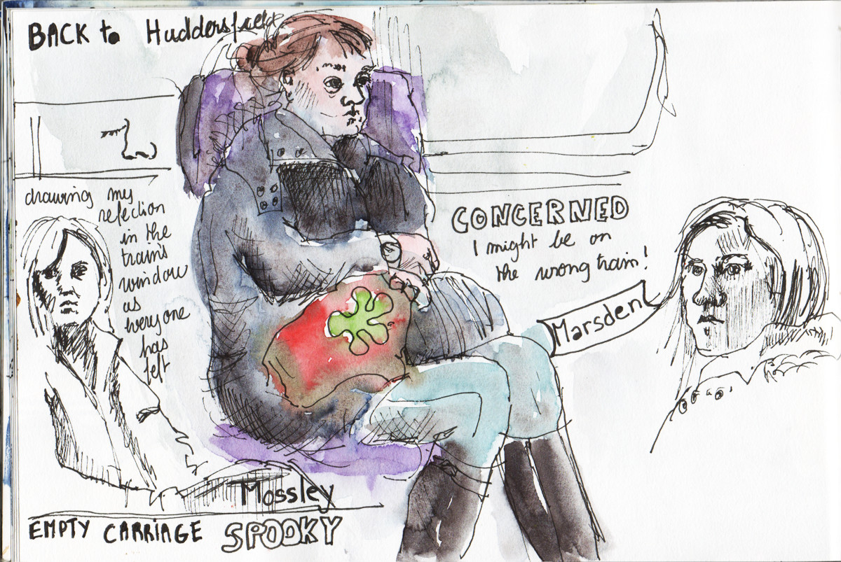 Train sketch by Sophie Peanut in Watercolour and pen