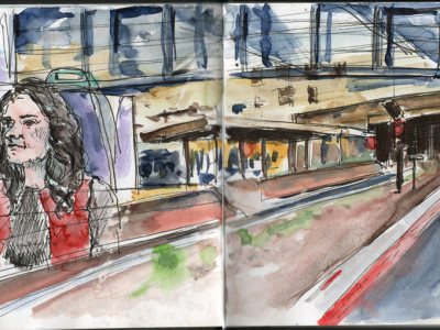 Urban sketching at Huddersfield train station and sketching on the train by Sophie Peanut