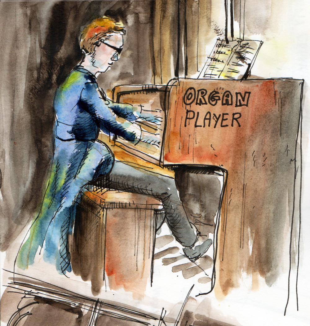 Organ player in Manchester cathedral - Watercolour and pen sketch by Sophie Peanut