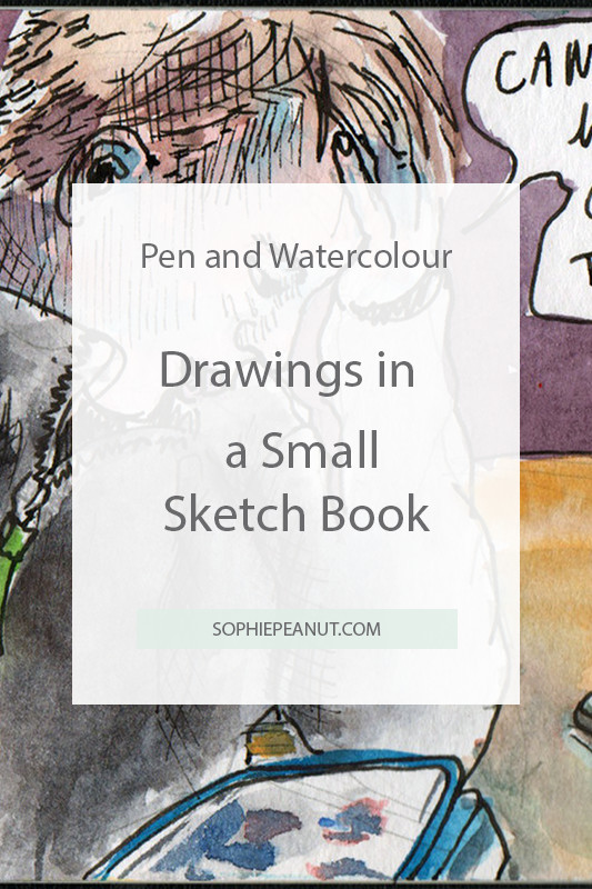 Pen and Watercolour Drawing in Small Sketchbook by Sophie Peanut