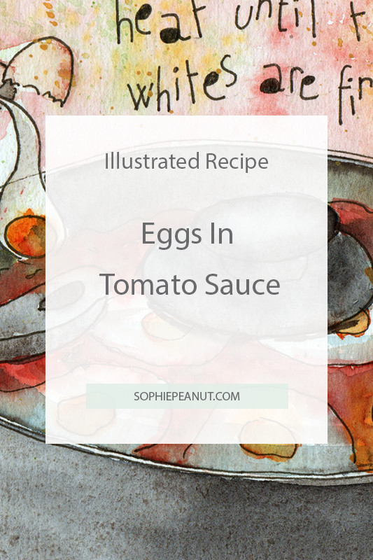 Eggs in tomato sauce - Hand drawn recipe by Illustrator Sophie Peanut