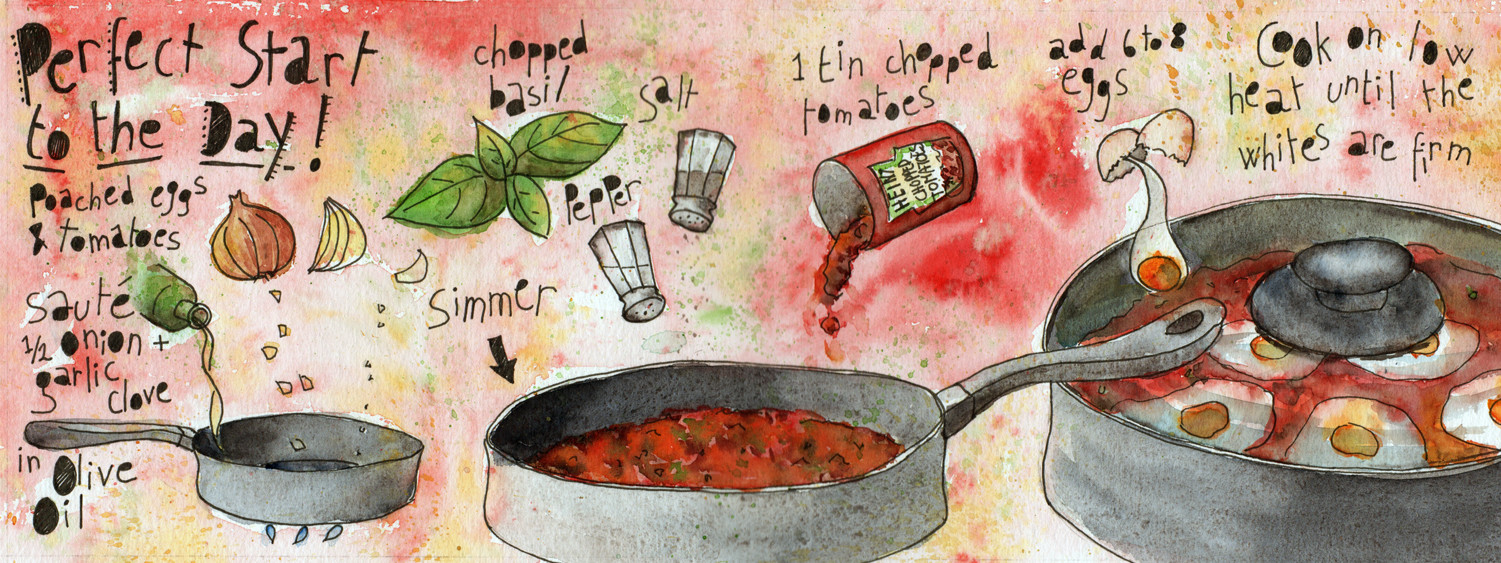 Perfect Start to The Day - Illustrated Recipe Eggs in Tomato Sauce