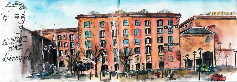 Pen and Watercolour Sketch Liverpool Albert Dock