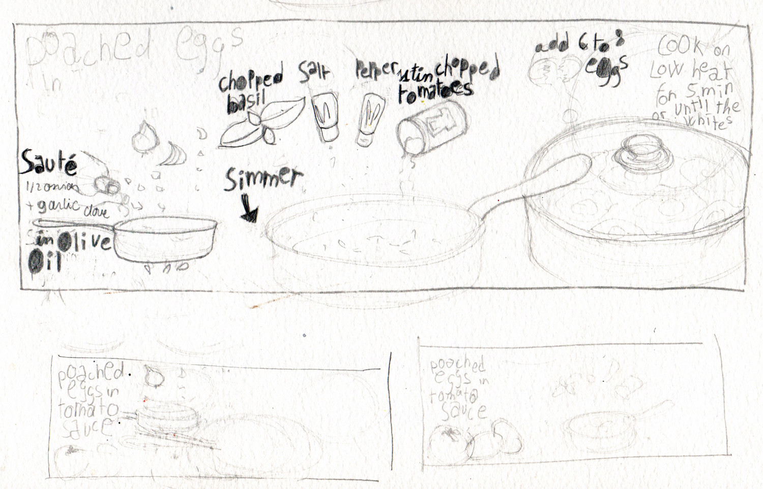 Eggs in tomato illustrated recipe sketch