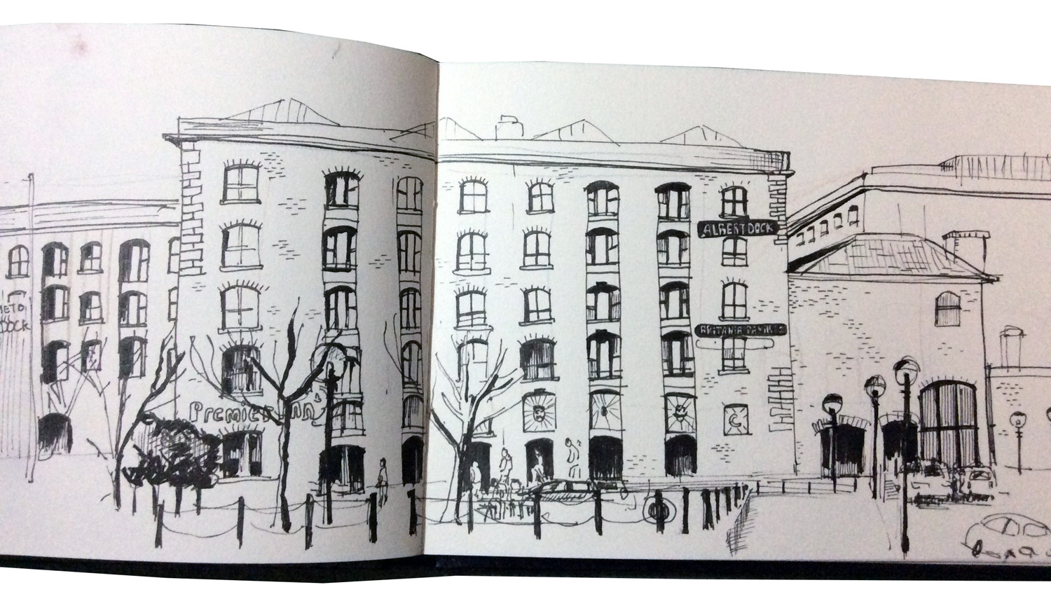 Pen drawing of the Albert Dock in Liverpool by Sophie Peanut