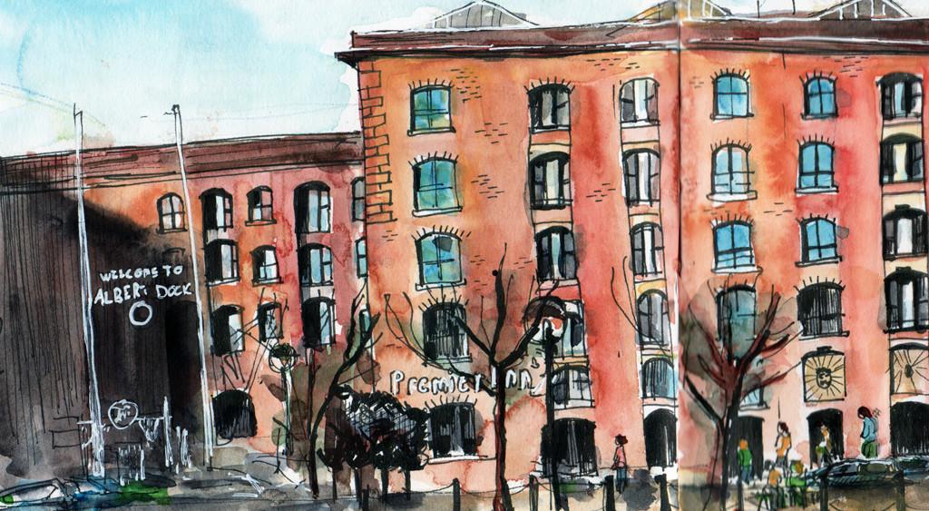 Liverpool Albert Dock Watercolour Sketch