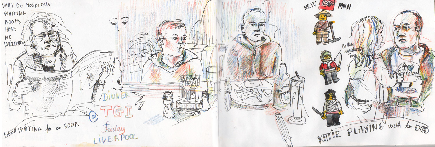 Quick sketches of people (and lego figures) in pen and watercolour