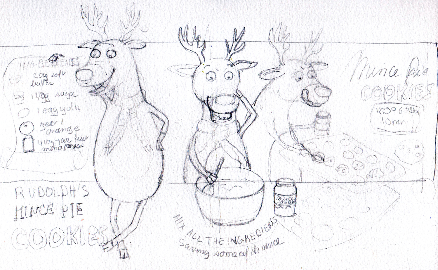 Drawing Animal Characters - Some Reindeer sketches in pencil by Sophie Peanut