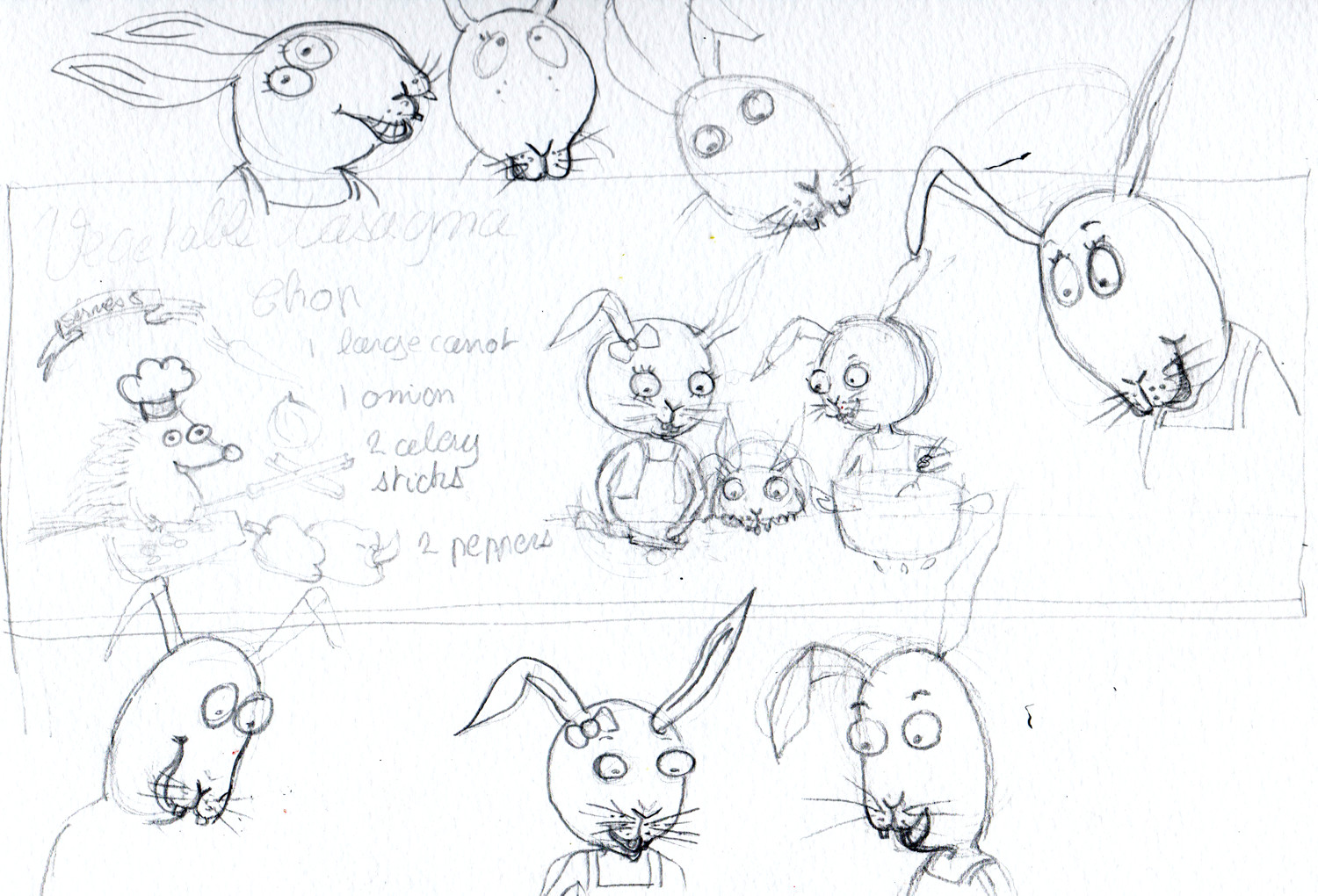 Drawing animal characters - Rabbit sketches by Sophie Peanut