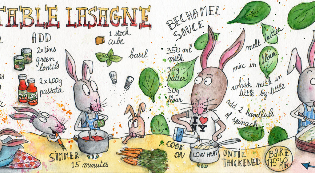 Vegetable Lasagne illustrated recipe by Sophie Peanut
