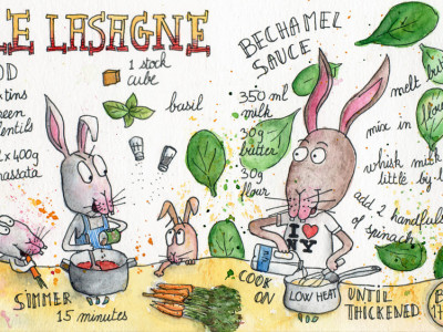 Vegetable Lasagne illustrated recipe by Sophie Peanut
