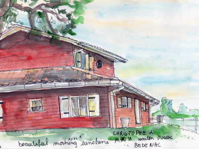 Bedenac France - Drawing in pen and watercolour