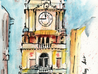 Sketch in pen and watercolour - Halifax Town Hall Uk - By Sophie Peanut