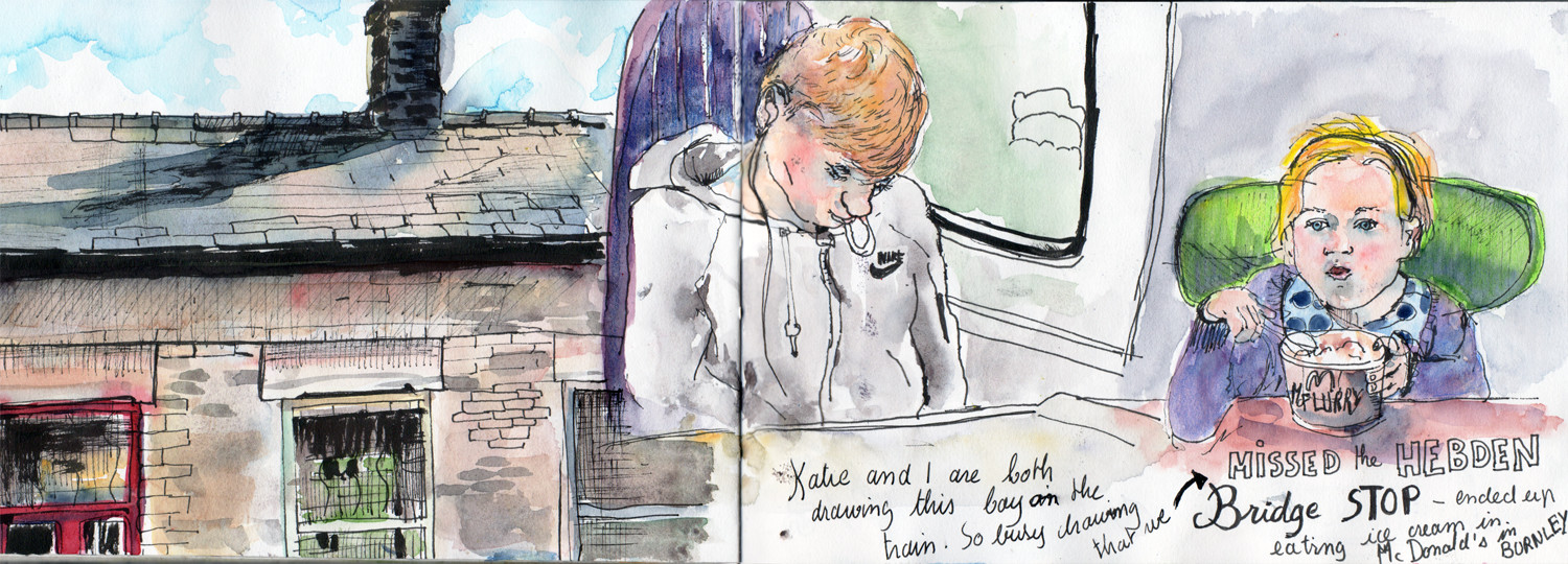 Drawing on the train and at the station - Pen and Watercolour by Sophie Peanut