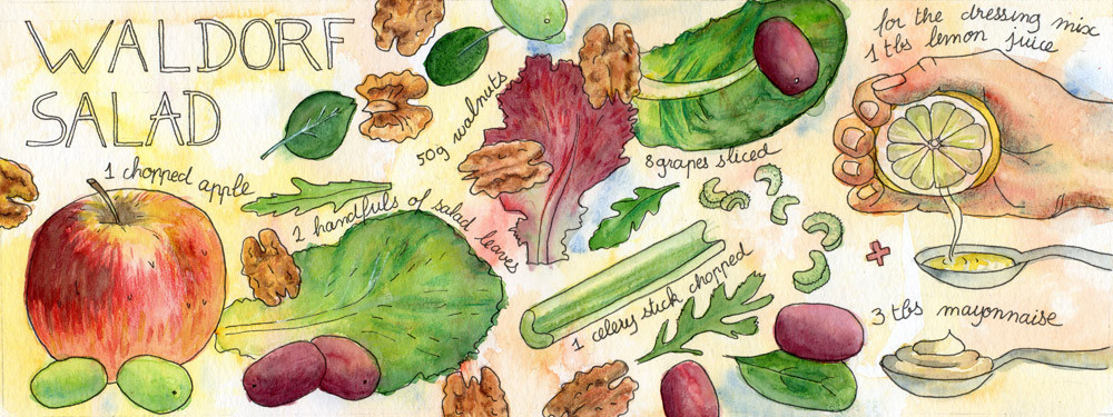 Waldorf Salad Illustrated Recipe by Sophie Peanut