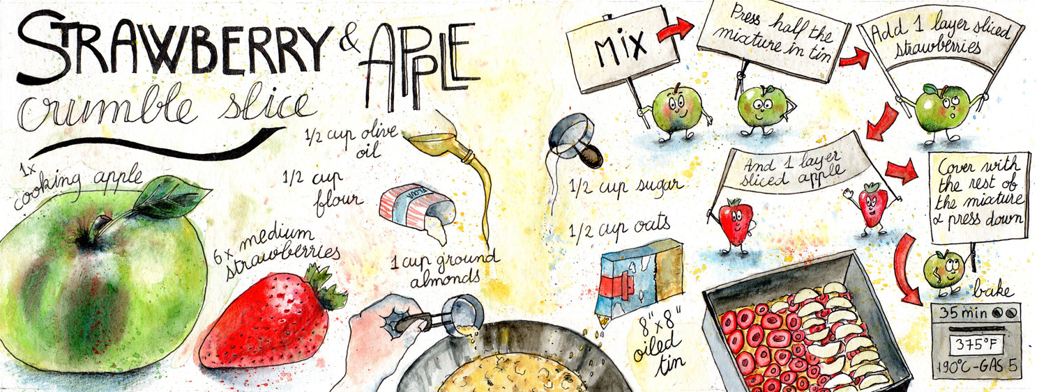 Strawberry and Apple Crumble Slice Recipe - Illustrated by Sophie Peanut