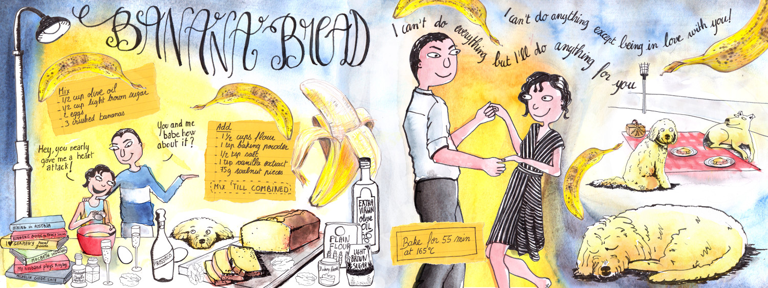 Banana Bread Illustrated recipe by Sophie Peanut