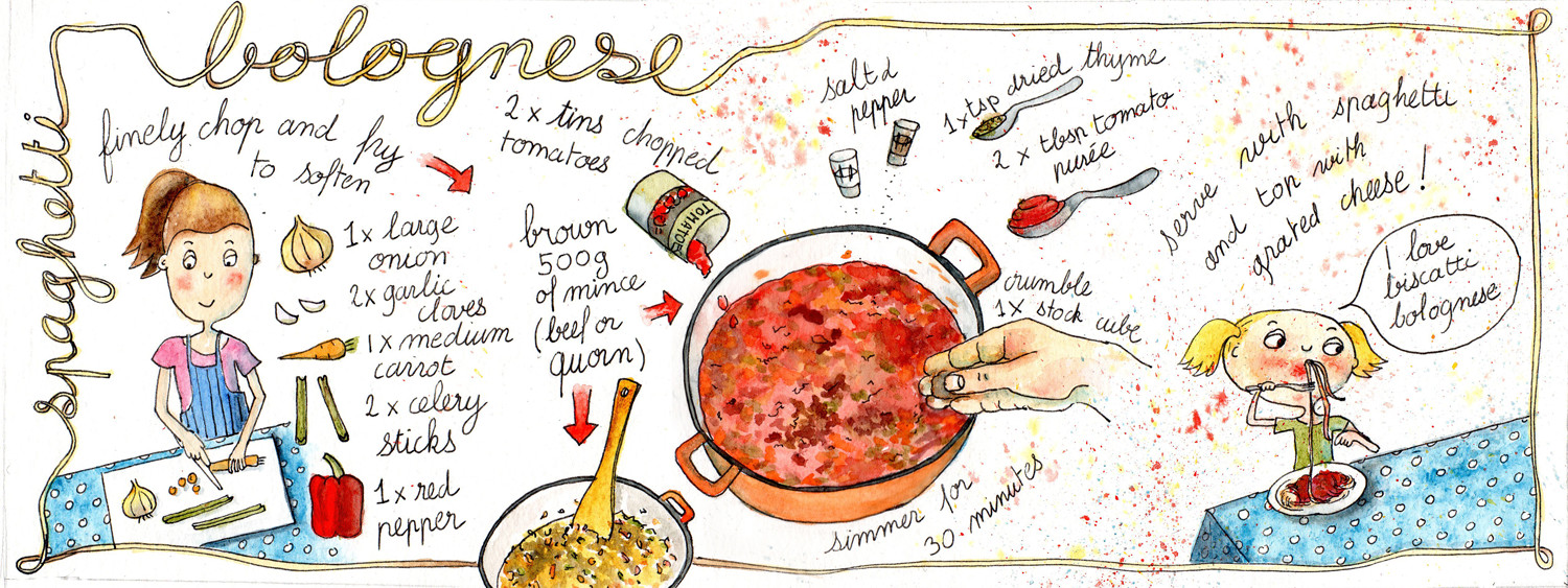 Hand lettering - Illustrated Spaghetti Bolognese Recipe