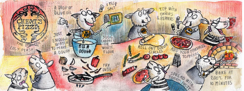 Cheat's Pizza Hand Drawn illustrated recipe