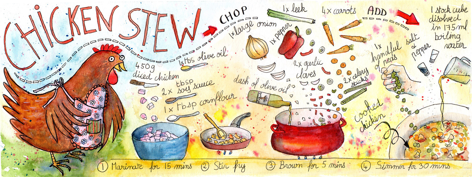 Illustrated Recipe - Chicken Stew by Sophie Peanut