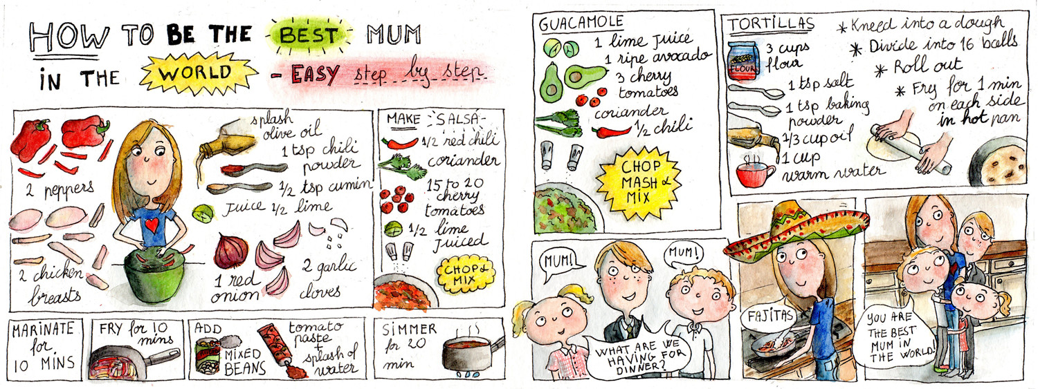How to be the best Mum in the world - Fajitas illustrated recipe