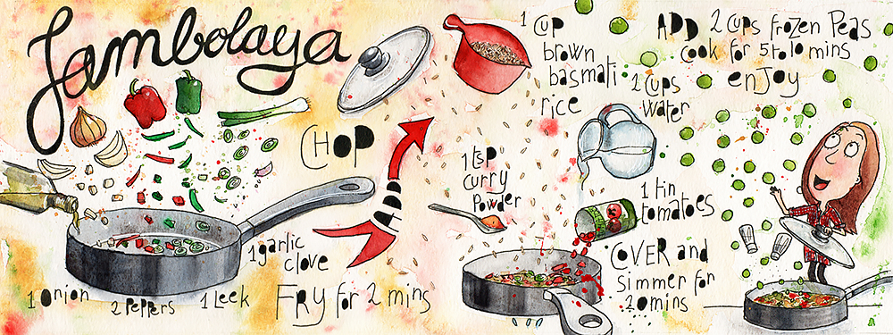 Jambolaya Illustrated recipe by Sophie Peanut