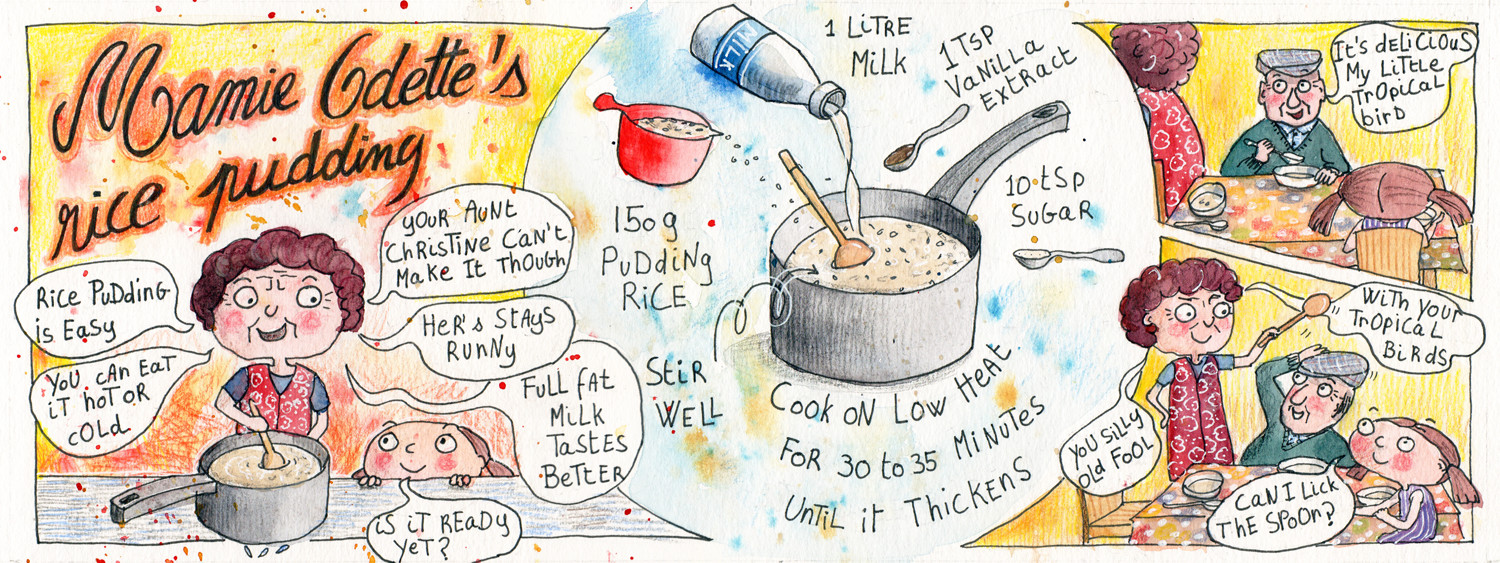 Mamie Odette's Rice Pudding - Illustrated Recipe by Sophie Peanut