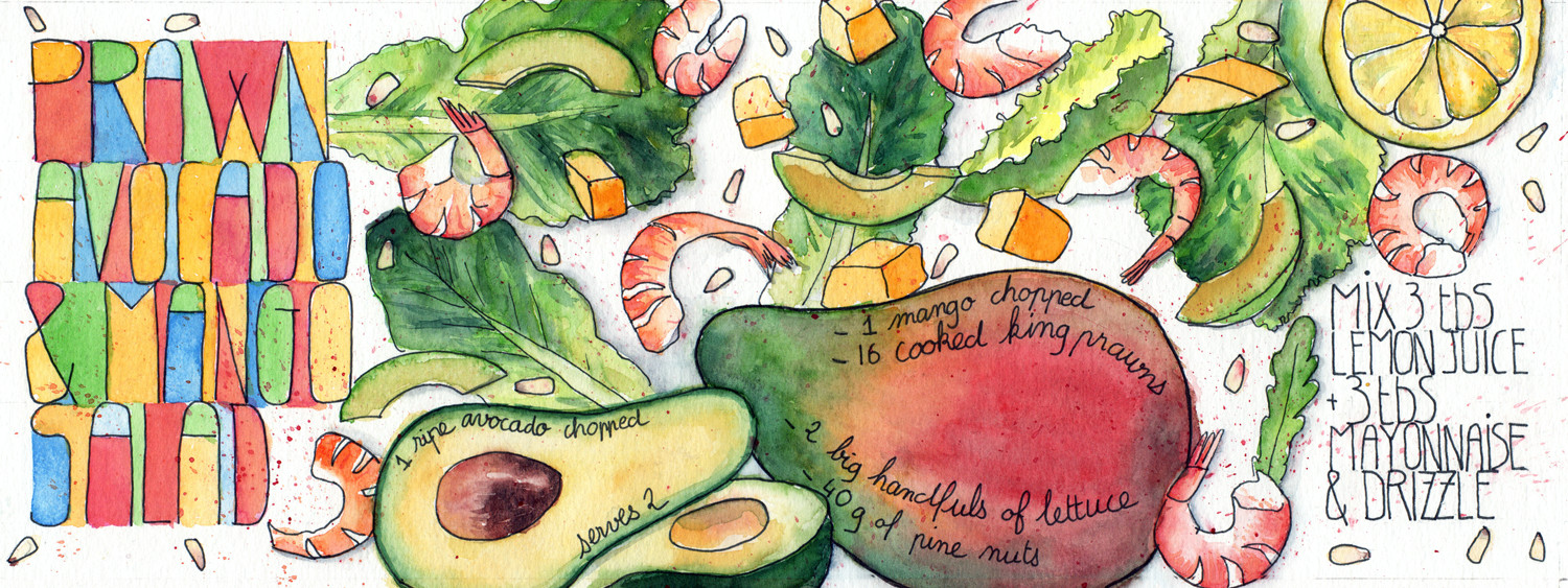 Prawn, Mango and Avocado Salad Illustrated recipe in pen and watercolour by Sophie Peanut