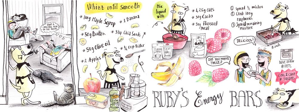 Ruby's energy bars - Illustrated recipe by Sophie Peanut