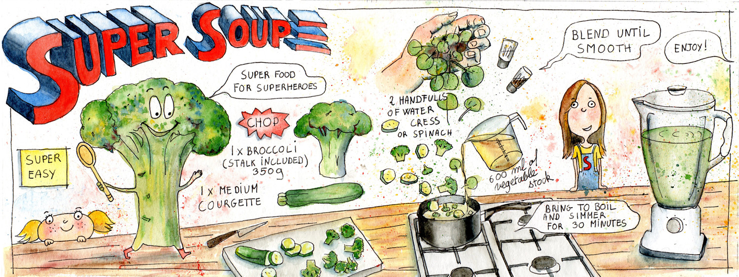 Broccoli Soup Illustrated Recipe by Sophie Peanut