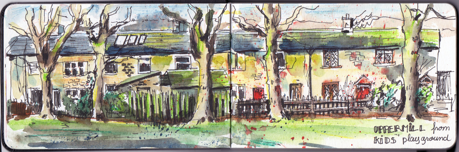 Pen and Watercolour sketch in Uppermill - view from the playground