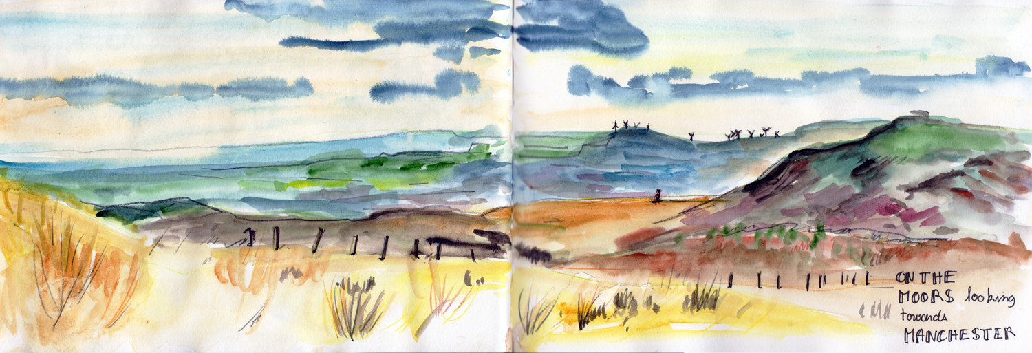 Painting the landscape on the moor near Saddleworth - Watercolour by Sophie Peanut