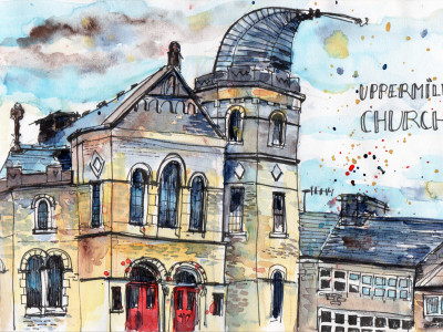 Uppermill Church Drawn in pen and Watercolour - Sophie Peanut