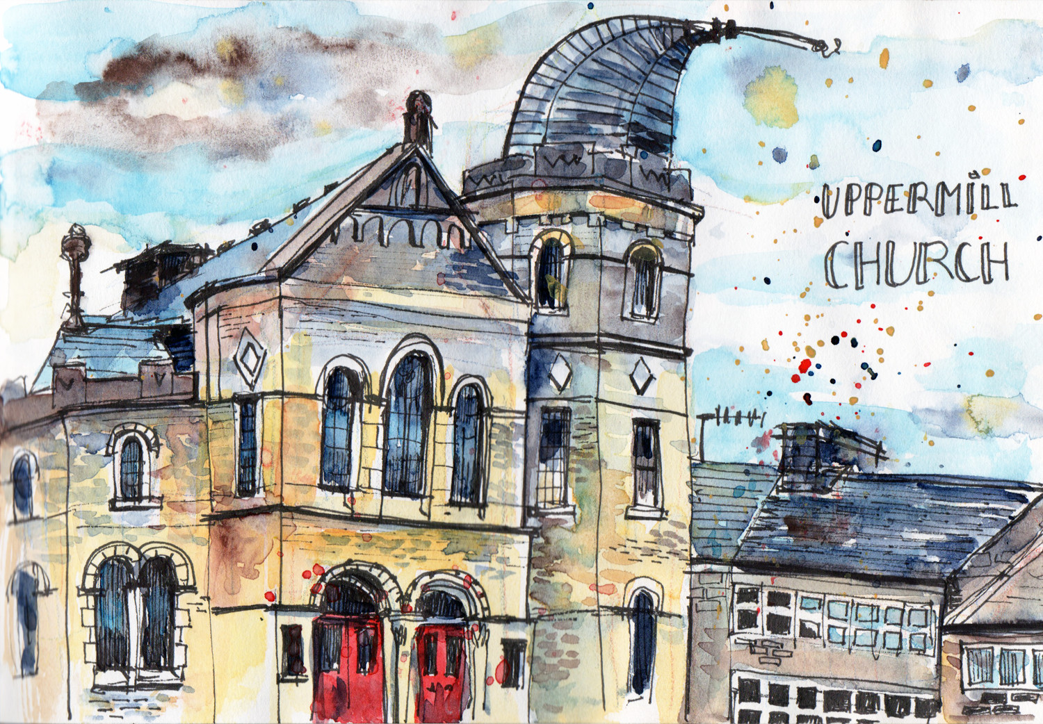 Sketching in Uppermill Church Drawn in pen and Watercolour by Sophie Peanut