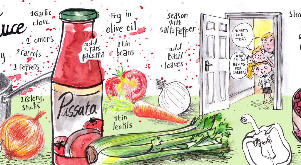 Veggie Pasta Illustrated Recipe