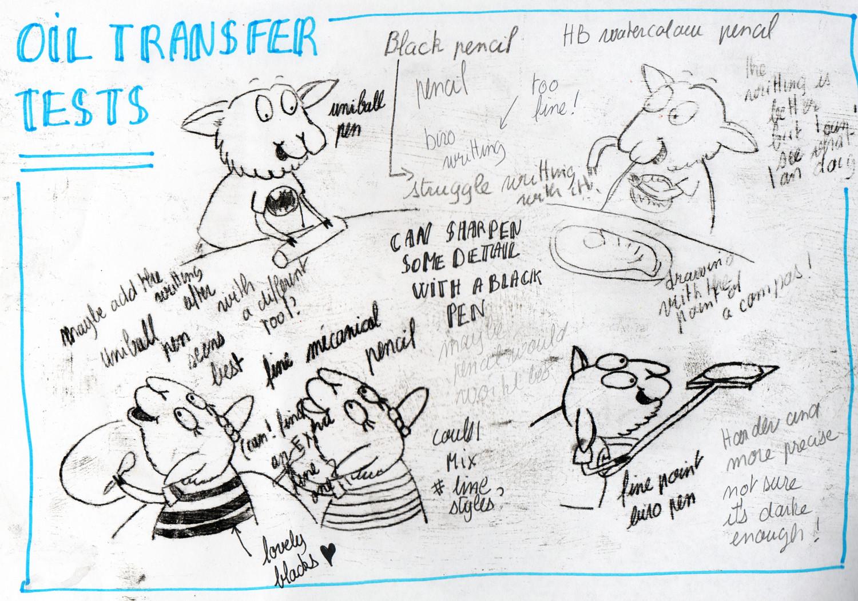 Oil transfer illustration technique experiments