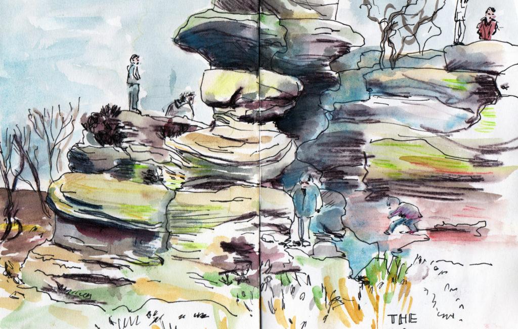 Brinham Rocks - Pen and Watercolour sketch by Sophie Peanut