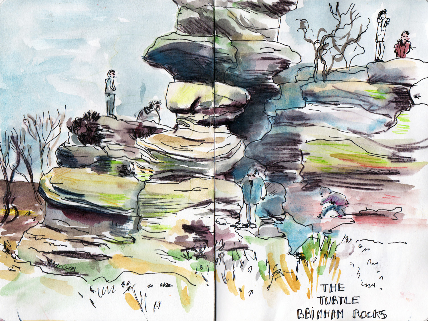 Brinham Rocks - Pen and Watercolour sketch by Sophie Peanut
