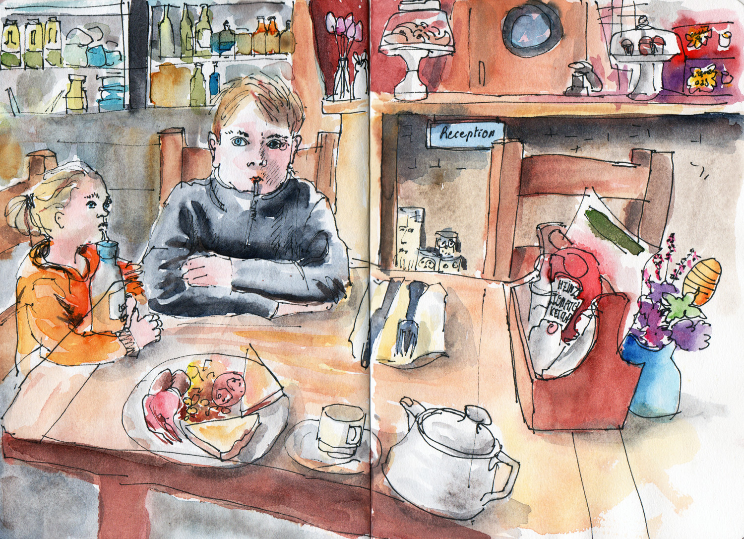 Breakfast in Cafe - Pen and watercolour sketch