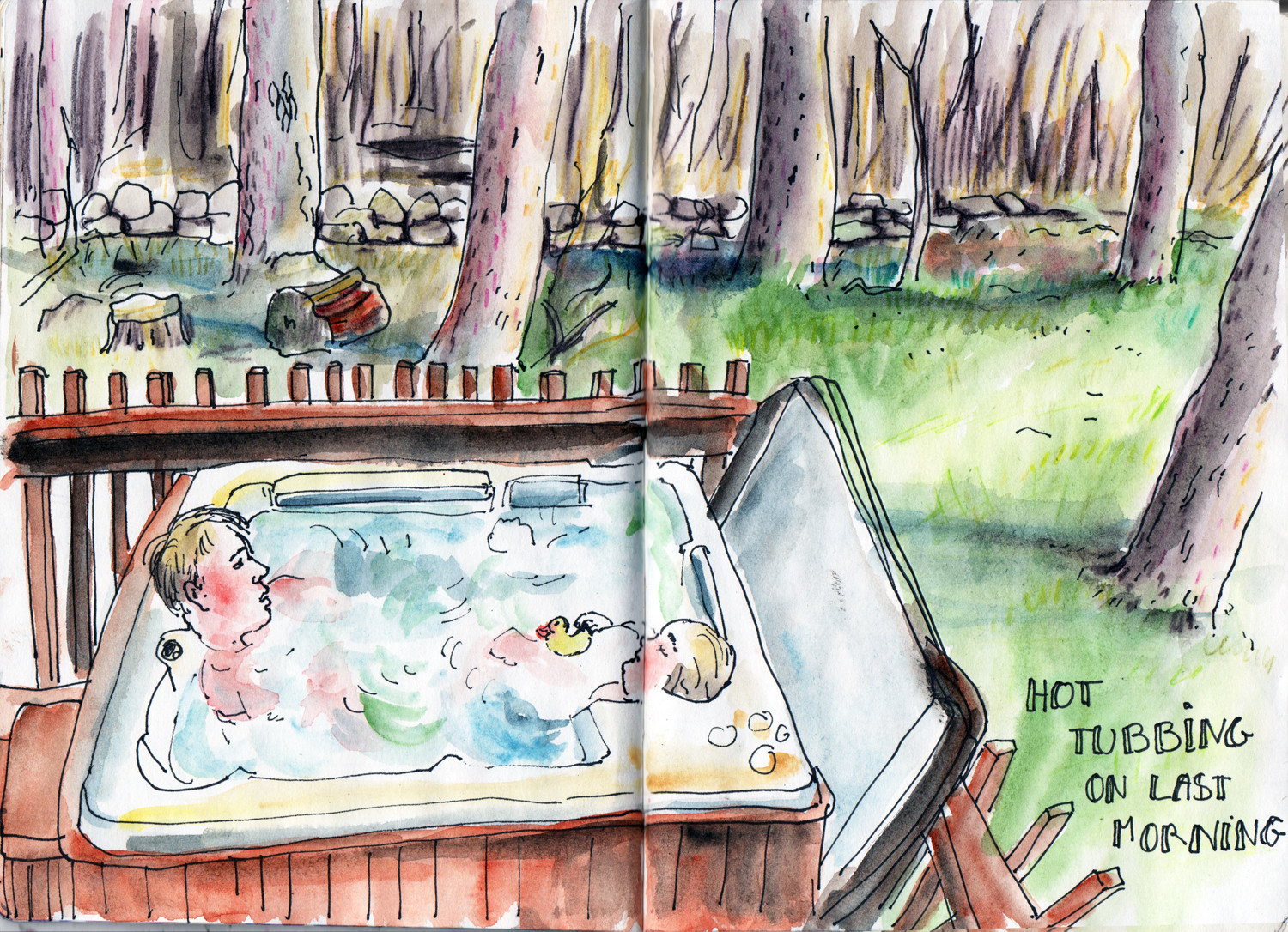 Hot tub - relaxing on holiday in the Cropton Forest Sketch by Sophie Peanut