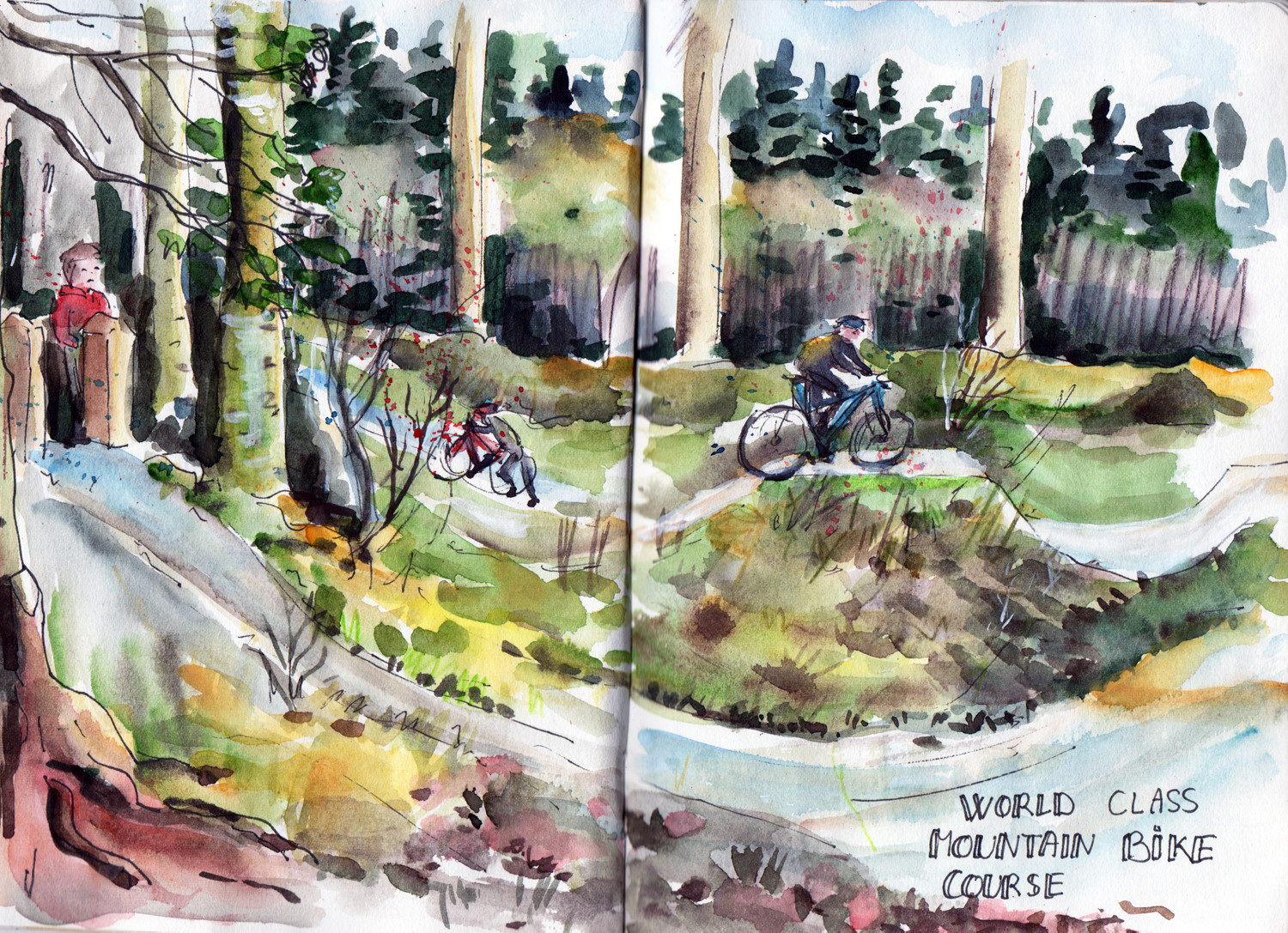 World class mountain bike course - Dalby Forest Pen and Watercolour drawing